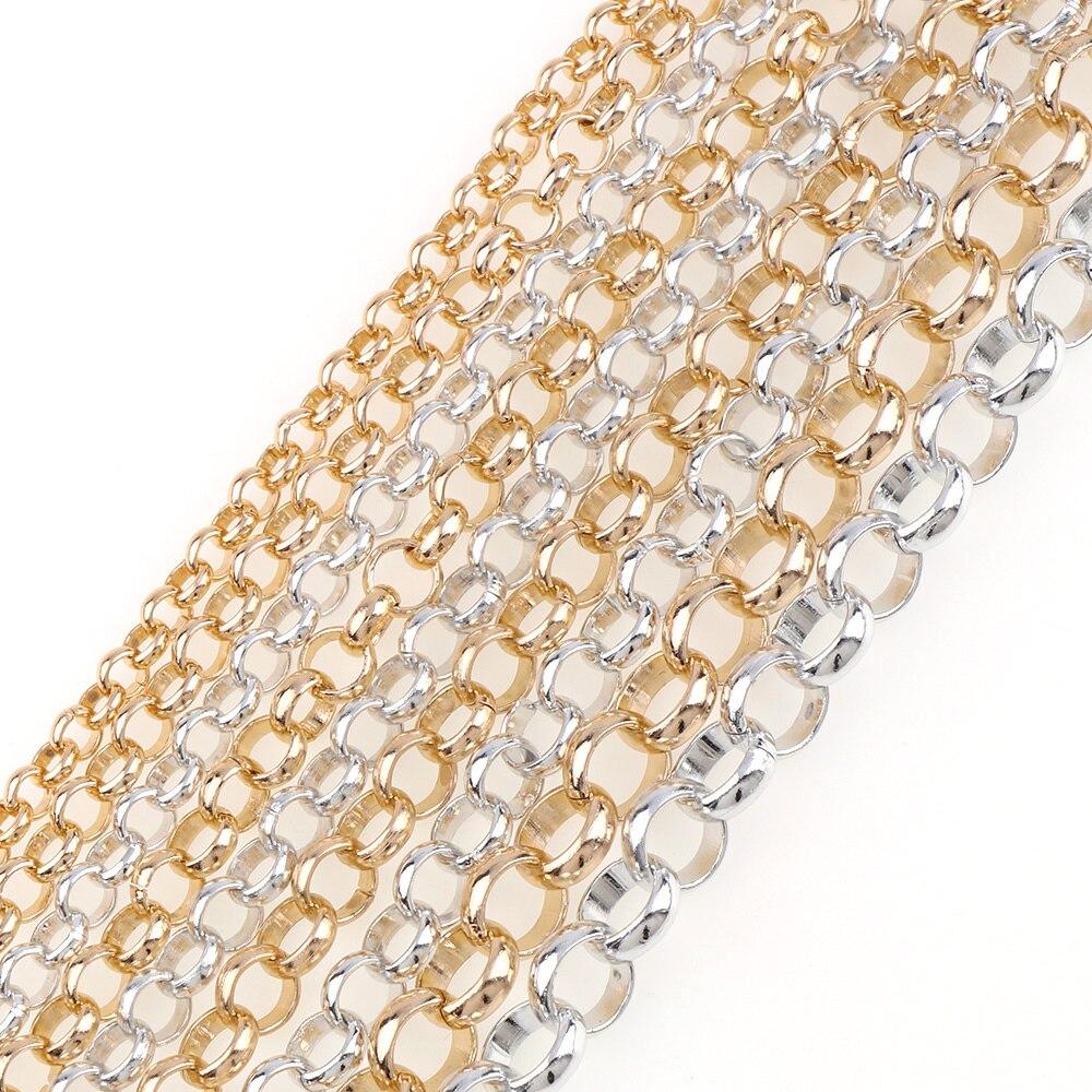 5m Cadena Rolo Color Plata Esterlina 925 para la fabricación de joyas 016