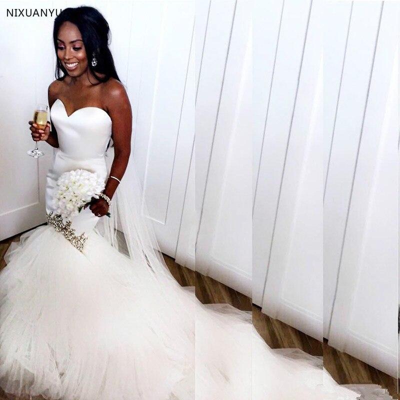 2019 Fashion Arab Mermaid Wedding Dresses Satin Tulle Long Train Crystal Beaded Sweetheart Arabic Bridal Dresses