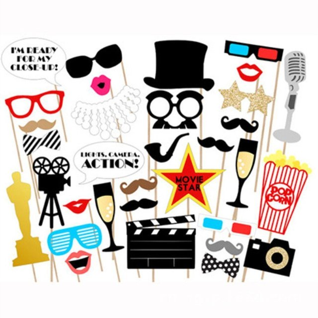 33pcs New Movie Star Theme Photo Booth Props on A Stick DIY Kits for