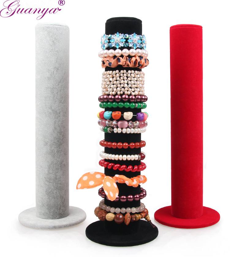 Guanya 2pcs/lot Black/red/Gray Color Velvet Jewelry Display Storage Stand Hair Accessory Bracelet Bangle Holder Watch Chain Case