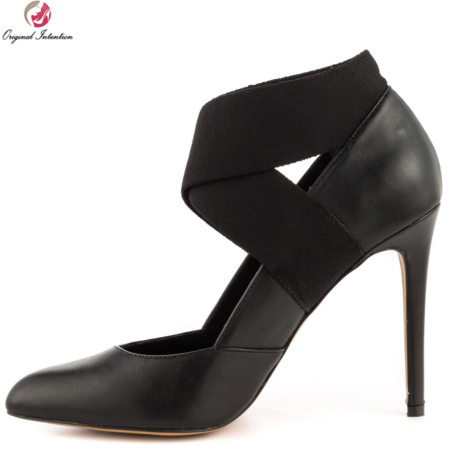 Original Intention High-quality Women Pumps 2017 Sexy Pointed Toe Thin Heels Pumps Popular Black Shoes Woman Plus US Size 4-15 comfy women pointed toe square high heels office shoes woman flock ladies pumps plus size 34 40 black grey high quality