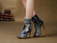 Stylish Summer Denim Peep Toe Ankle Boots Light Wash Jeans Lace Matched Stiletto Heel Booties Trend Platform Sandals
