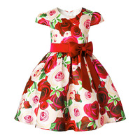 Girls Dress Wedding Party Princess Christmas Dresse For Girls Fashion Rose Printed Costume Kids Cotton Party