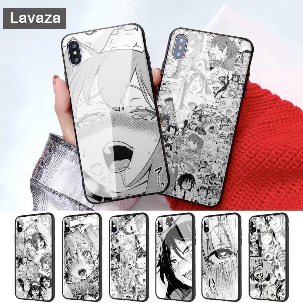 Lavaza Anime Cô Gái Hoạt hình Nhật Bản mặt Kính Ốp Lưng điện thoại Iphone 11 Pro XR X XS Max 6 6S 7 8 Plus 5 5S SE