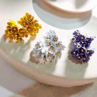 Dominated New Fashionable Sweet Little Daisy Metal Elegant Multi-layer Flower Women Drop earrings