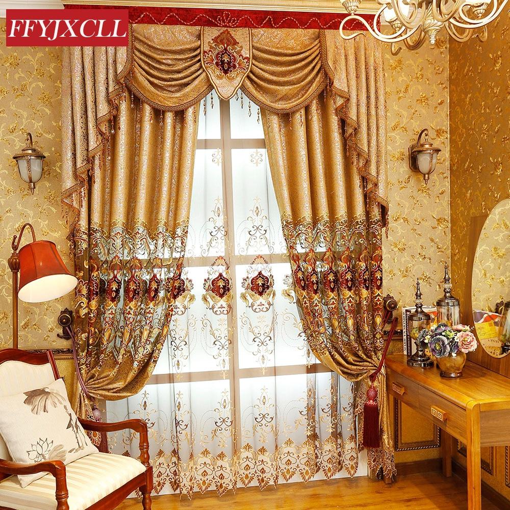 Eropah Emas Mewah Villa Langsir Bersulam Untuk Bilik Tamu Bilik Tidur Cermin Tingkap Dapur Hiasan Rumah Hotel