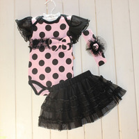 2016 1 Set Baby Girl Polka Dot Headband Romper TUTU Outfit Party Birthday Costume Free Shipping