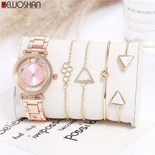 5pc/Set Fashion Luxury Brand Round Crystal Women Bracelet Watch Rose Gold Quartz Wristwatches Ladies Dress Watches Reloj Mujer