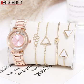 5pc/Set Fashion Luxury Brand Round Crystal Women Bracelet Watch Rose Gold Quartz Wristwatches Ladies Dress Watches Reloj Mujer 2020 new brand qingxiya bracelet watches women luxury crystal dress wristwatches clock women s fashion casual quartz watch reloj