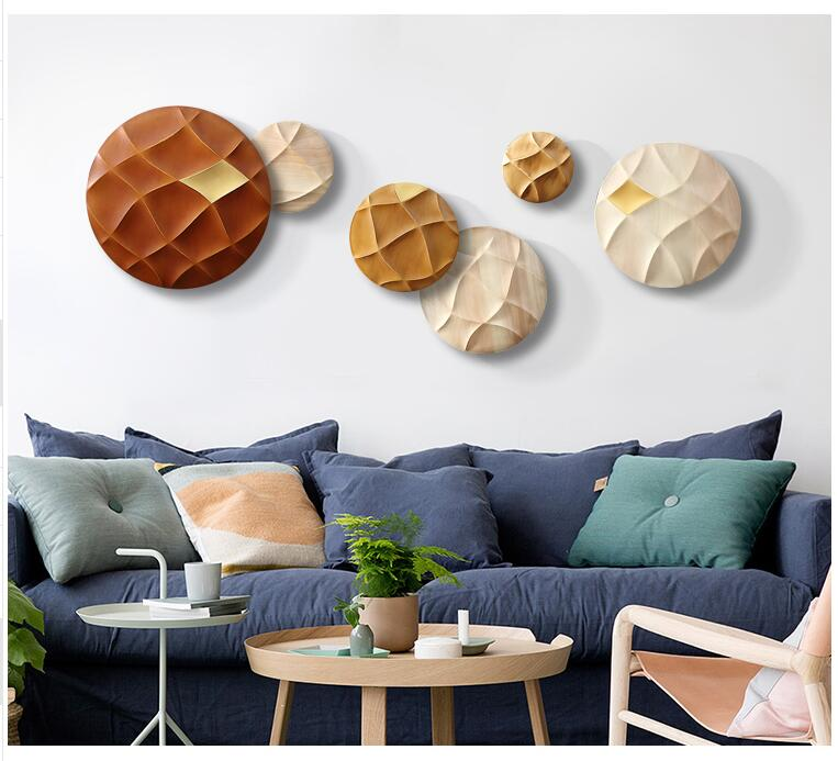 . Modern Wood Round Shape 3D Wall Sticker Ornaments Restaurant Porch