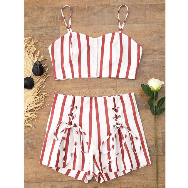 72020f154f ZAFUL Red Stripes Women Summer Set 2018 Button Up Cropped Top Lace Up Shorts  Set Vintage
