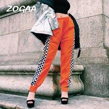 Side Checkerboard Women Pants Zipper Orange Joggers 19 Spring New Elastic Ankle Streetwear Trousers Plaid Patchwork Pencil