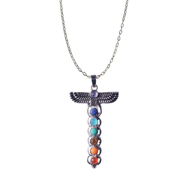 Charms 2017 hot 7 chakra yoga necklace pendant stainless steel popular leather rope cross sacred guardian man for woman gift lol