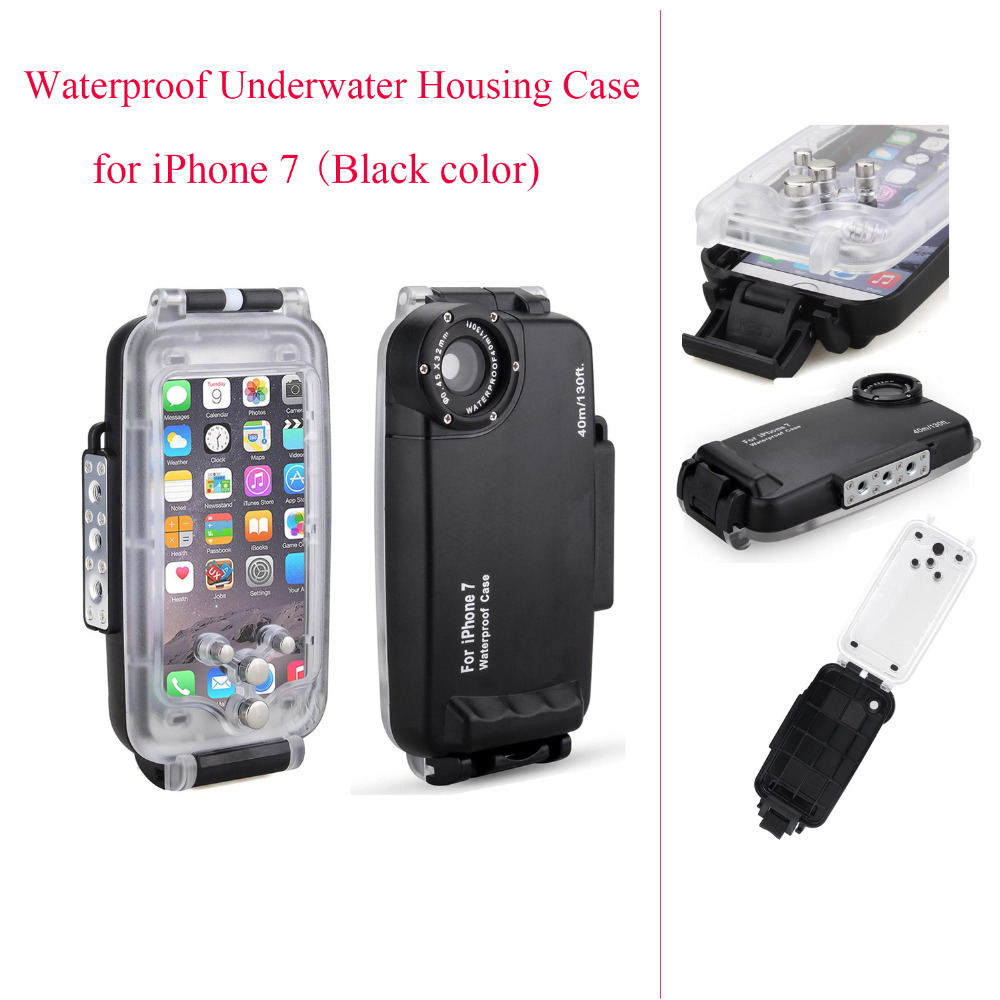 Meikon EasyDive 40m/130ft Waterproof Underwater Housing Case for iPhone 7 Black Waterproof Underwater Case Cover for iPhone 7 baseus guards case tpu tpe cover for iphone 7 red