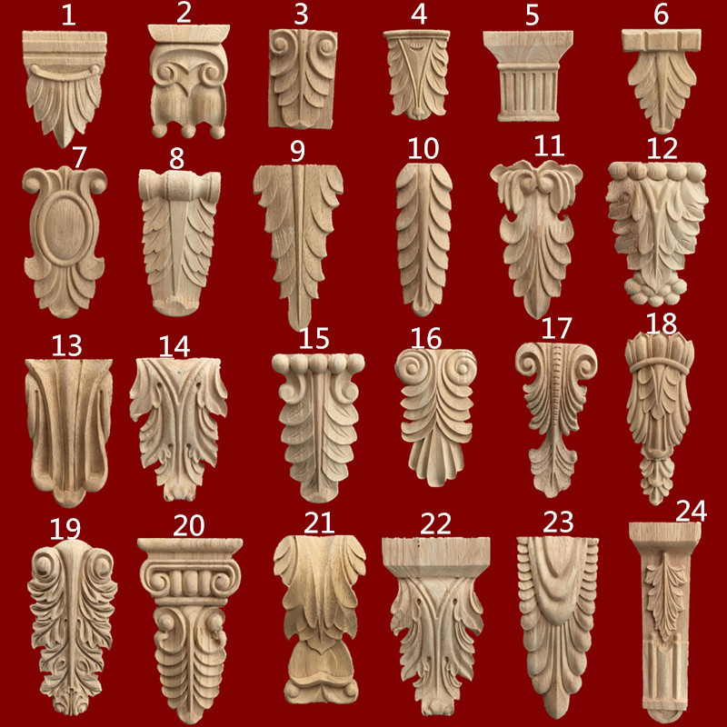 2Pcs/Lot European Rubber Wood  Carved Corbels Corbel Scroll Acanthus Onlay Applique
