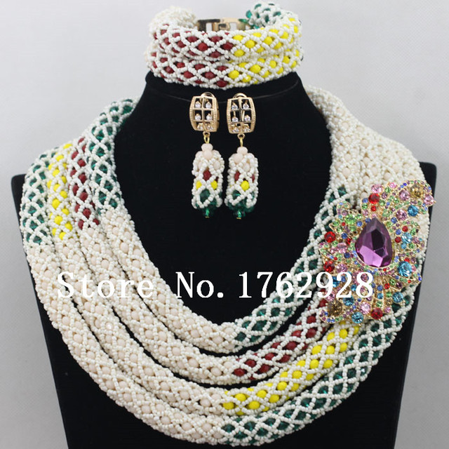 Multicolor 4 Rows Native American Indian Jewelry Set African Style