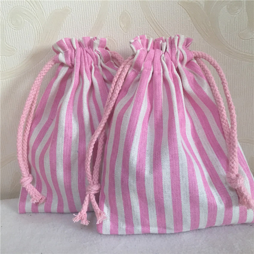 YILE 1pc Pink Striped Cotton Linen Drawstring Multi- Purpose Organizer Bag Party Gift Bag N 8223 D S