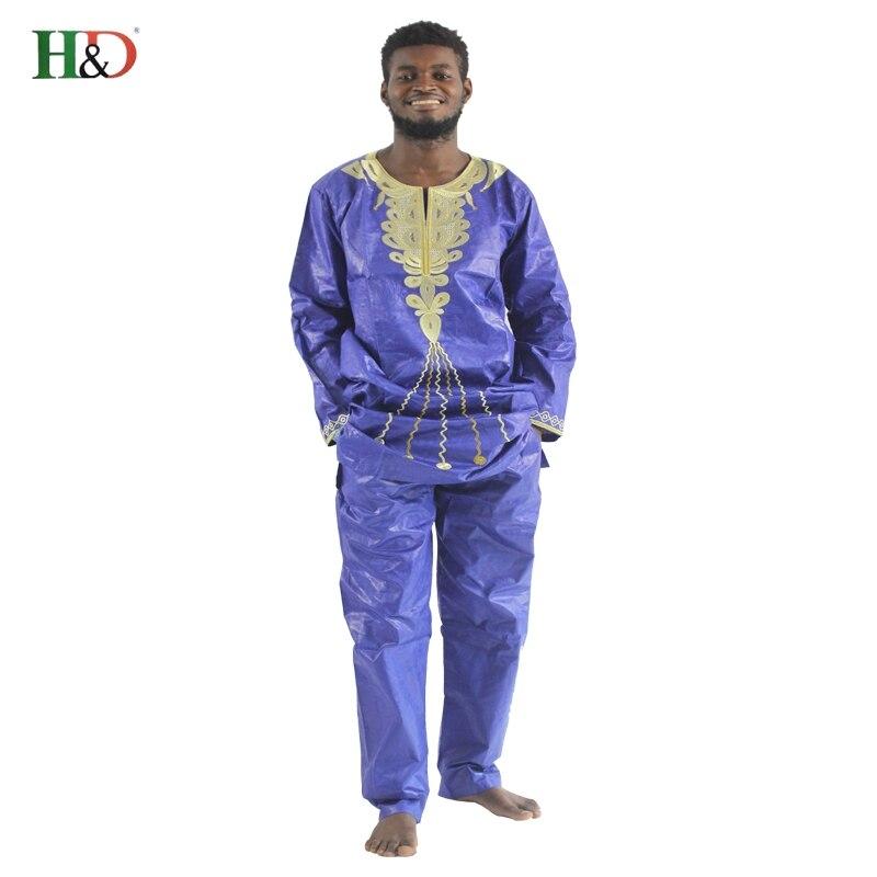 H & D 2017 tradisjonelle afrikanske herreklær Nye motedesigner Bazin - Nasjonale klær - Bilde 1