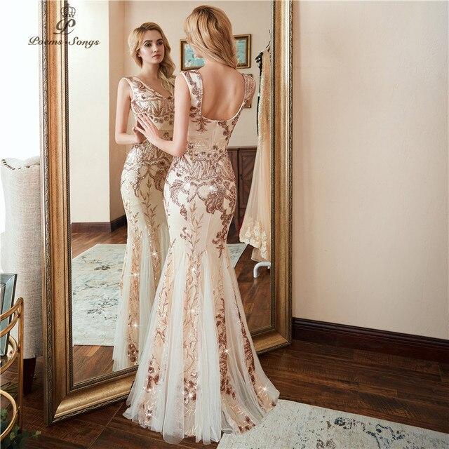 Poems Songs 2018 V-neck Evening Dress vestido de festa formal party dress  Luxury Gold Sequin prom dress U-back. Previous  Next 5d3d5f04a35a