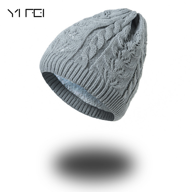 цена на YIFEI Men Beanies Winter Hats For Men Knitted Hat Warm Bonnet Caps Baggy Solid Thicken Fur Women Winter Hat Wool Skullies Beanie