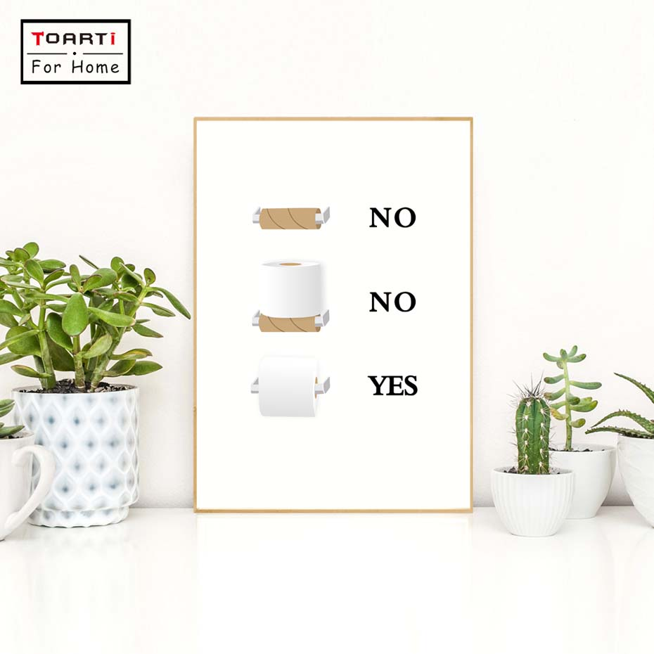 Us 0 86 20 Off Fun Quirky Toilet Paper Instructions Sign Canvas Art Print Painting Poster Modern Home Decor Bathroom Funny Humor Minimalist In