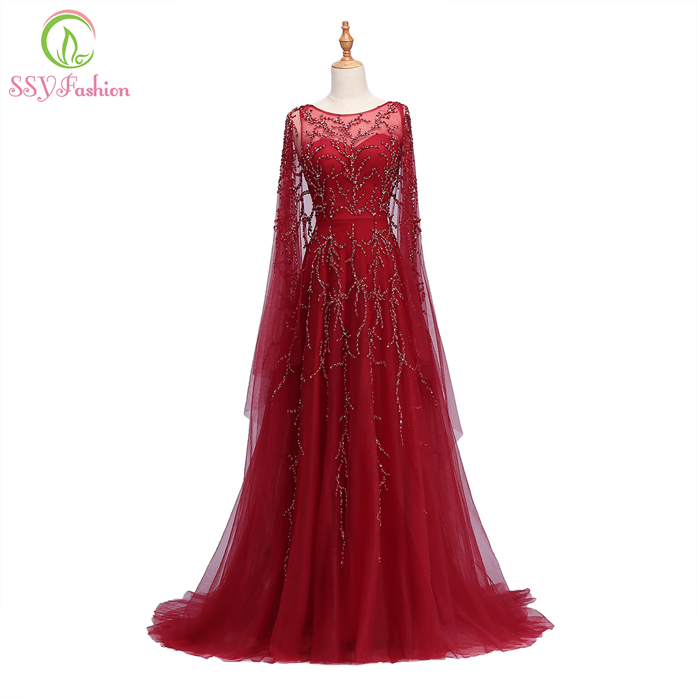 SSYFashion New Banquet Luxury   Evening     Dress   High-end Wine Red Sequins Beading Sweep Train Party Prom Gown Robe De Soiree