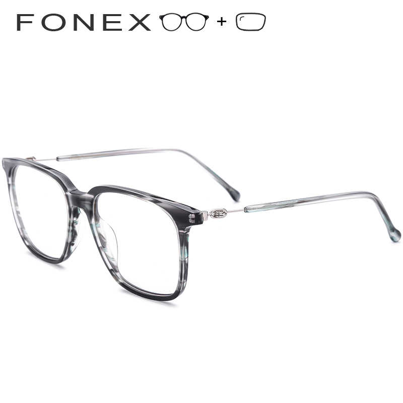 75e1e320ce Acetate Prescription Glasses Men Big Oversize Square Eyeglasses Myopia  Optical Frame Screwless Eyewear Photochromic Progressive