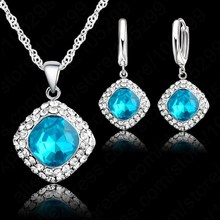 Chain Charm Pendant Necklace Earring Crystal Set