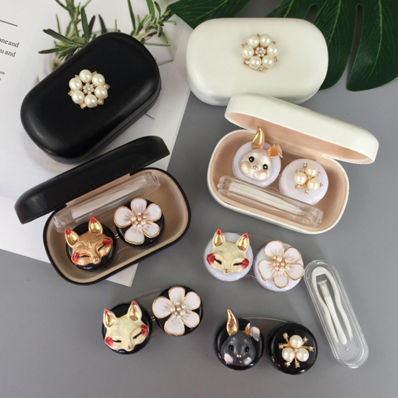 Rabbit And Fox Contact Lens Case Ladies Leather Hard Contact Lens Case Cute Glasses Case Lens Container Gift Glasses Case