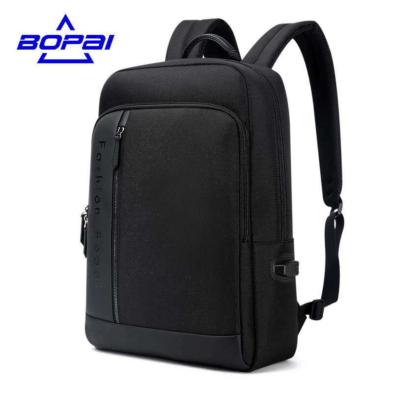 Black Waterproof Mens Rucksack Backpack 15.6 Inch Computer Bags USB Charging Travel Backpacks for Men Anti Theft Mens Work Bags