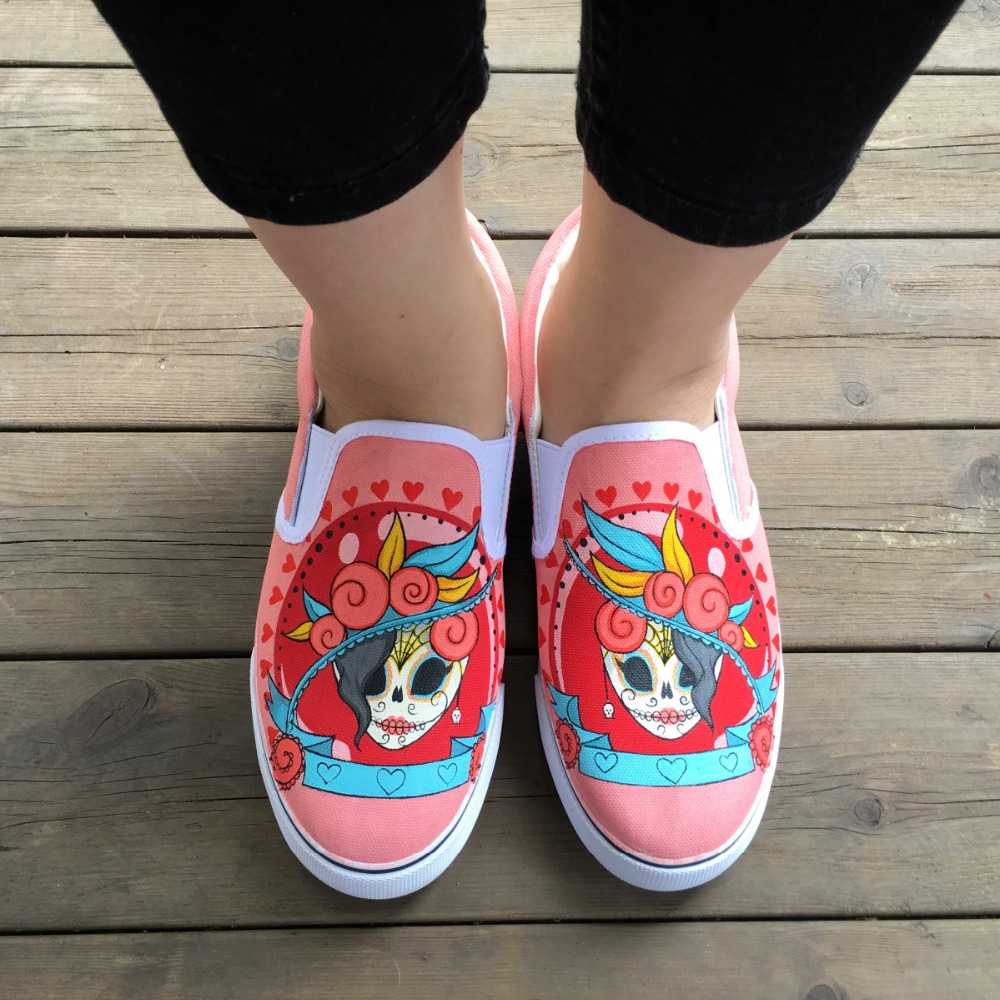 4165cfdbd Wen Mexican Style Skulls Totem Hand Painted Shoes Original Design ...