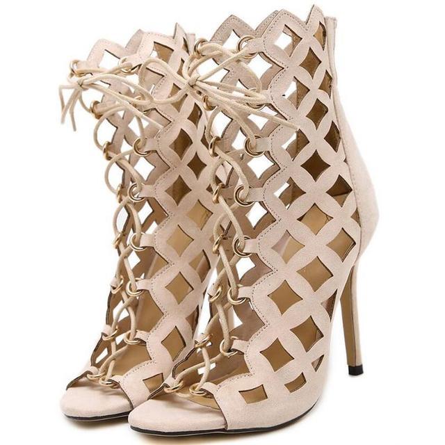 Sexy Oco Gladiador Tira Cruzada Sandálias de Salto Alto Mulheres Genova Stiletto Sandália do dedo do pé aberto Rendas Até Bombas Mulher Sapatos Romanos