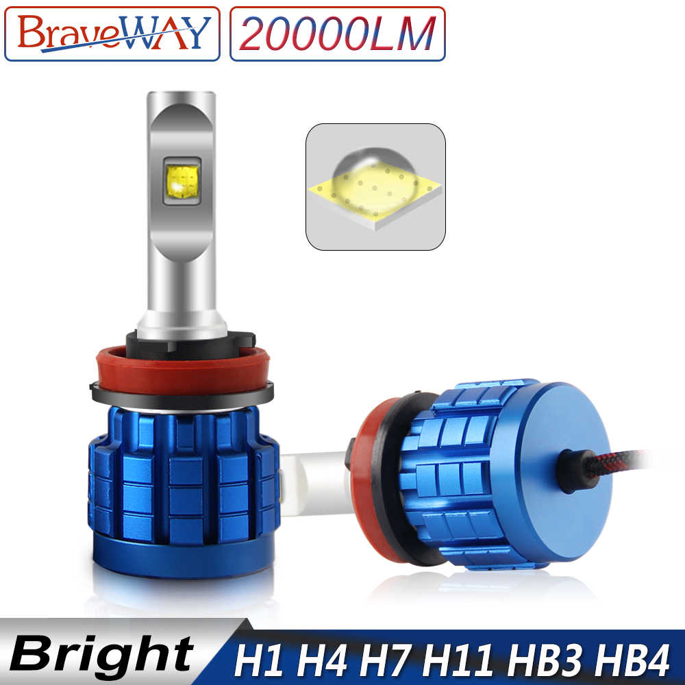 BraveWay 20000LM Headlight H8 H11 Fog Lights No Error H7 LED CANBUS H4 LED Lamps HB3 HB4 110W Auto Light Bulbs for Car 12V 6500K