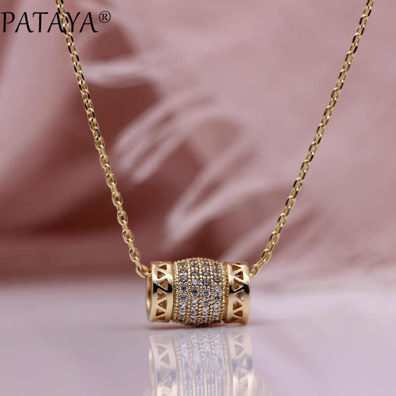 PATAYA Neue Candy Form Luxus Hohl Anhänger 585 Rose Gold Natürliche Zirkon Frauen Lange Halsketten Hochzeit Feine Mode Schmuck