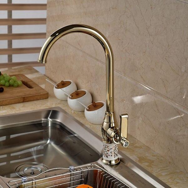 Modern Gold Finish Kitchen Mixer Faucet Deck Mounted Kitchen Sink ...