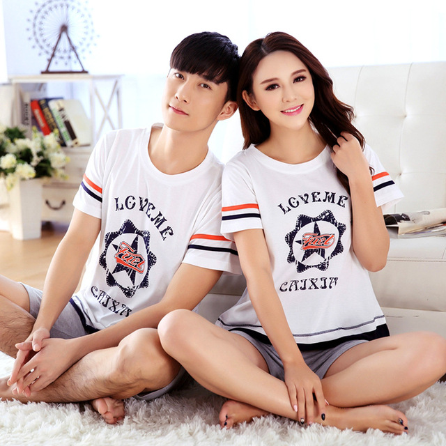 2016 Summer Women and man Lover Pyjamas Sleepwear 100% cotton Pajamas Set for couple