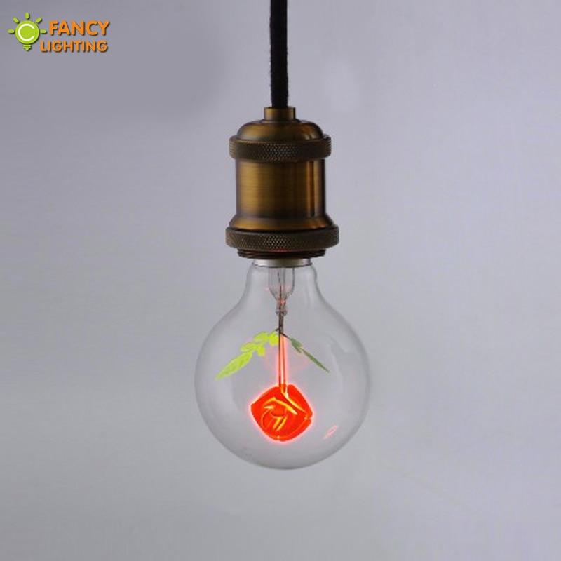 Vintage lamp G80-Rose retro light E27 220V decorative light bulb for home/bedroom/living room industrial decor incandescent lamp