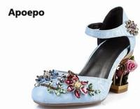 Newst High Heel Shoes Sky Blue Velvet Ankle Strap Woman Dress Shoes Crystal Embellished Wedding Heels