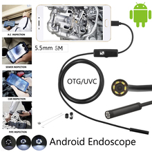 High Quality 5.5mm Len 5M Android OTG USB Endoscope Camera Flexible Snake USB Pipe Inspection Android Phone USB Borescope Camera