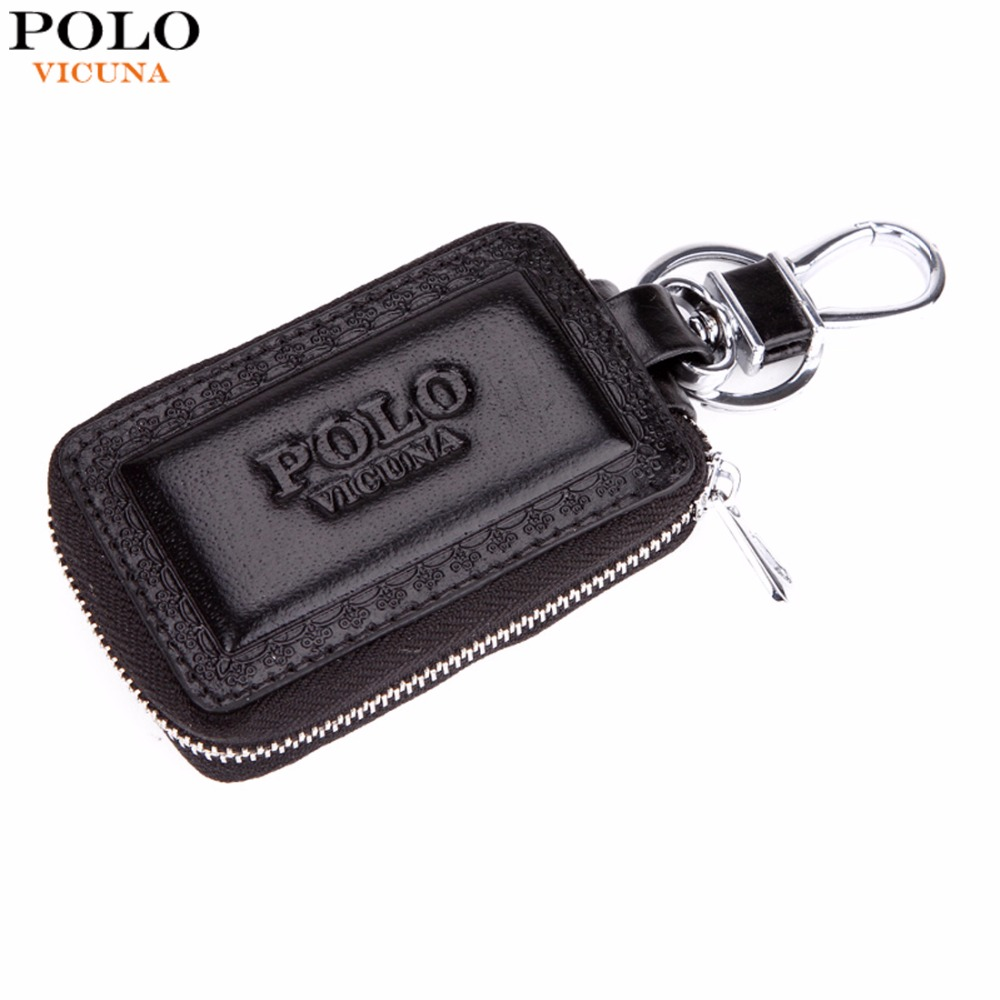 VICUNA POLO Embossed Edge Brand Genuine Leather Car Key Wallet For Male Vintage Simple Design Unisex