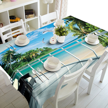 Senisaihon 3D Tablecloth Beachfront Beach Landscape Pattern Polyester Dustproof Rectangle Table cloth Christmas New Year Gift