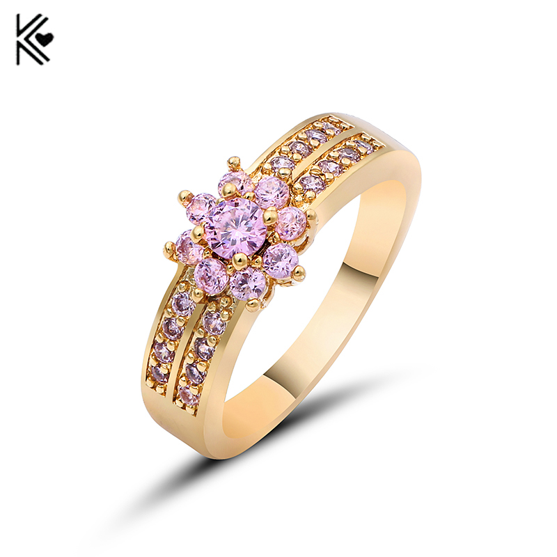 Romantic Female Princess Flower Ring Pink Fire Opal Gold Filled Jewelry Promise Engagement Rings Beaded Ring Clusters Anel 2018