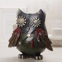 Loft Industry Style Resin Mechanical Bird Creative Owl Ornaments Bar Cafe Shop Window Decoration