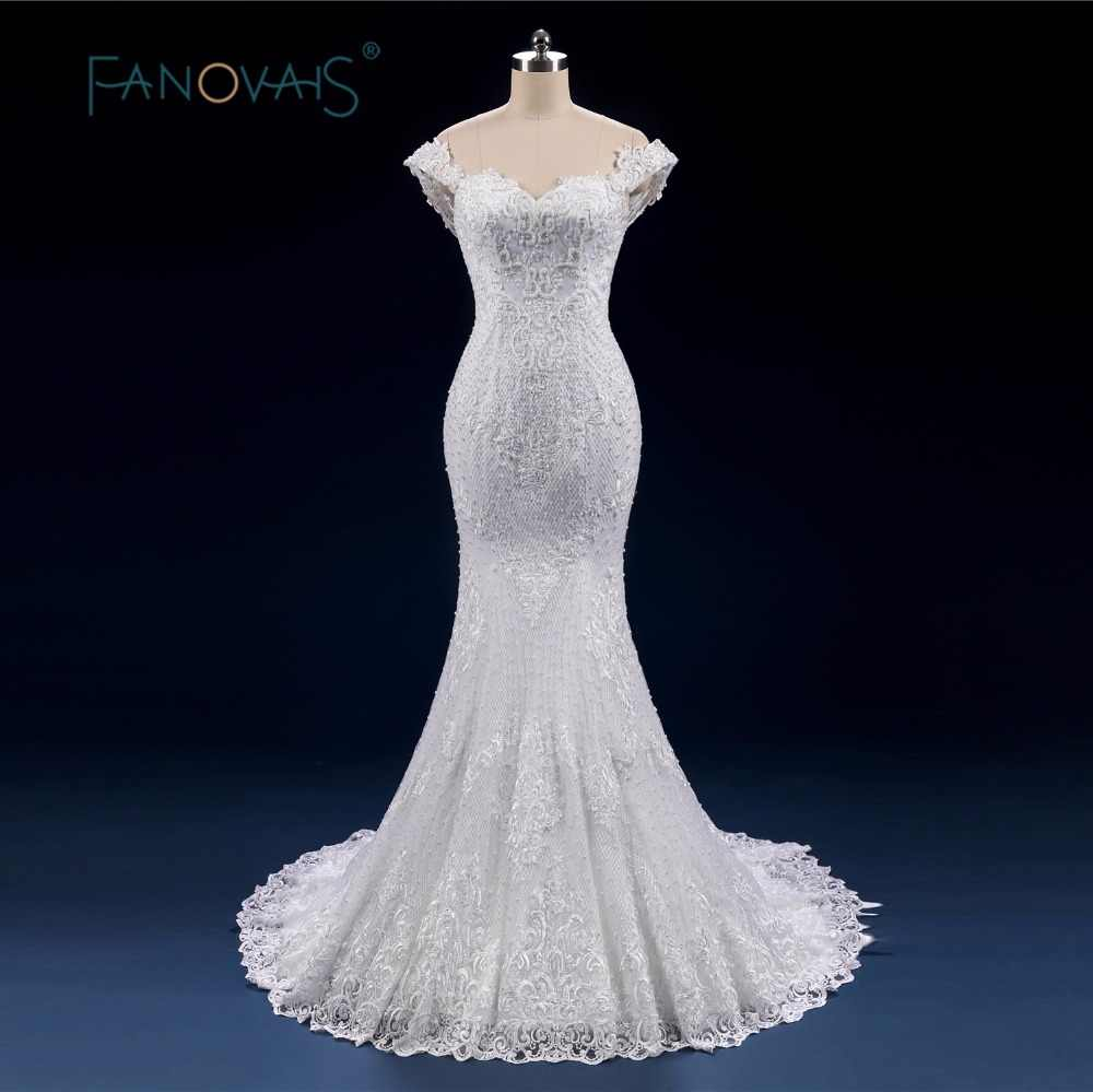 Luxury Full Beads Pearl Wedding Dress Mermaid Lace up Off Shoulder Bridal  Gowns 2019 Vintage Vestido 708c8b253e13