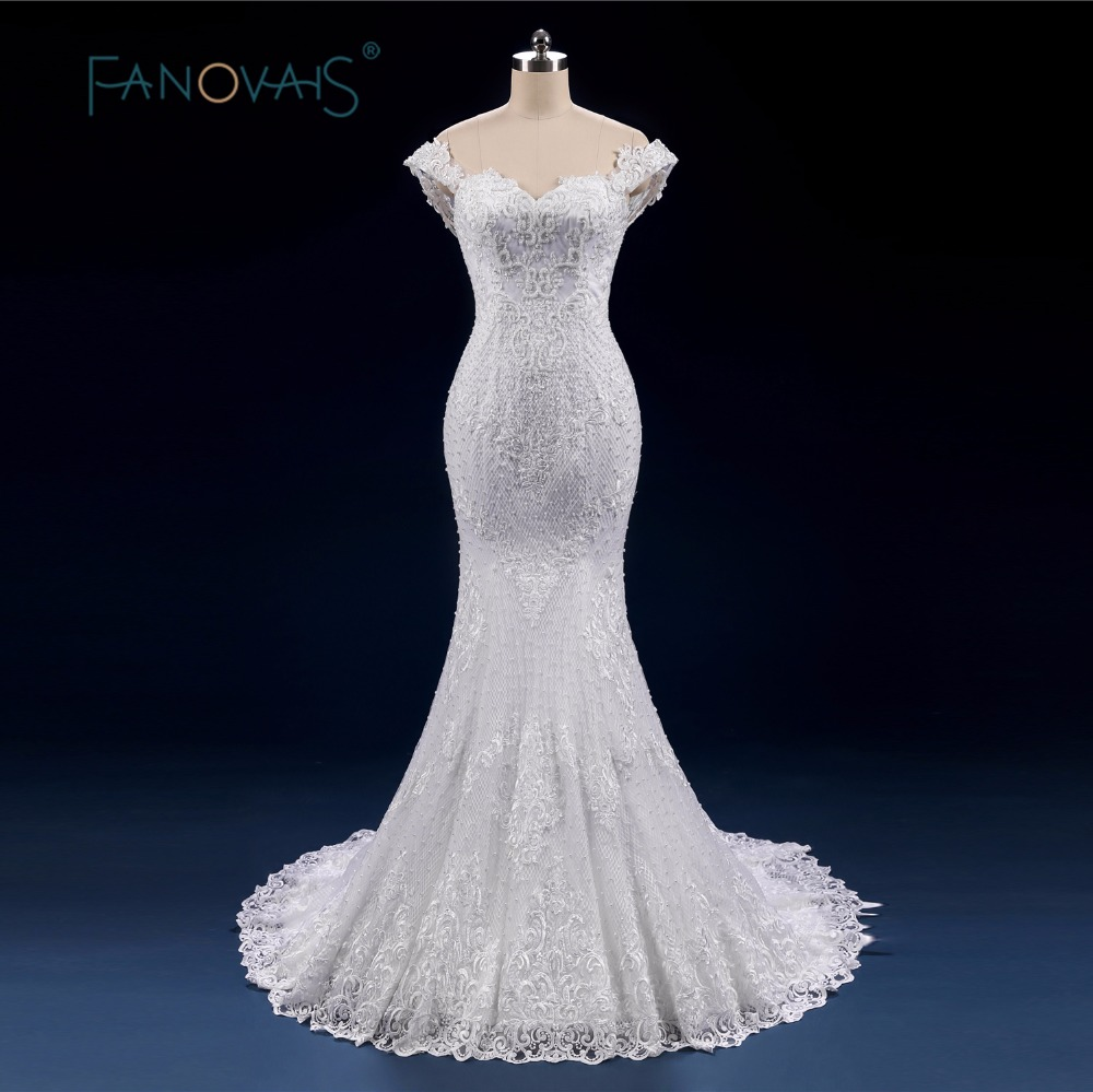 Luxury full beads pearl wedding dress mermaid lace up off for Vintage off the shoulder wedding dresses