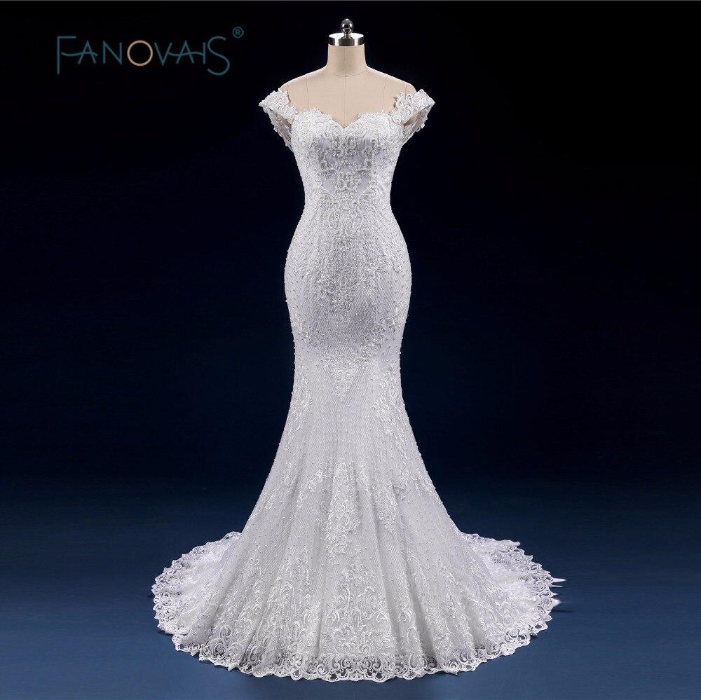 Luxury Full Beads Pearl Wedding Dress Mermaid Lace up Off Shoulder Bridal Gowns 2018 Vintage Vestido de novia robe de maree