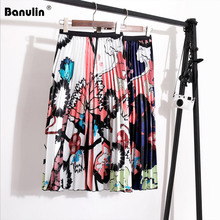 Banulin Womens Summer Midi Skirts 2019 Luxury Floral Print Pleated Skirt High Waist  A-Line Beach Holiday New Saia