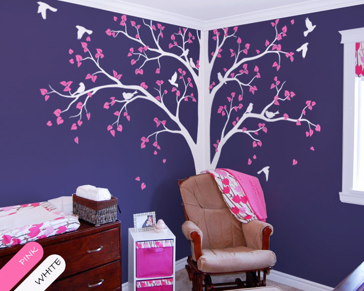 Baby Bedroom Home Art Decor Cute Huge Tree With Falling Leaves And Birds Wall Sticker Vinyl Nursery Room Decorative Mural Y-949