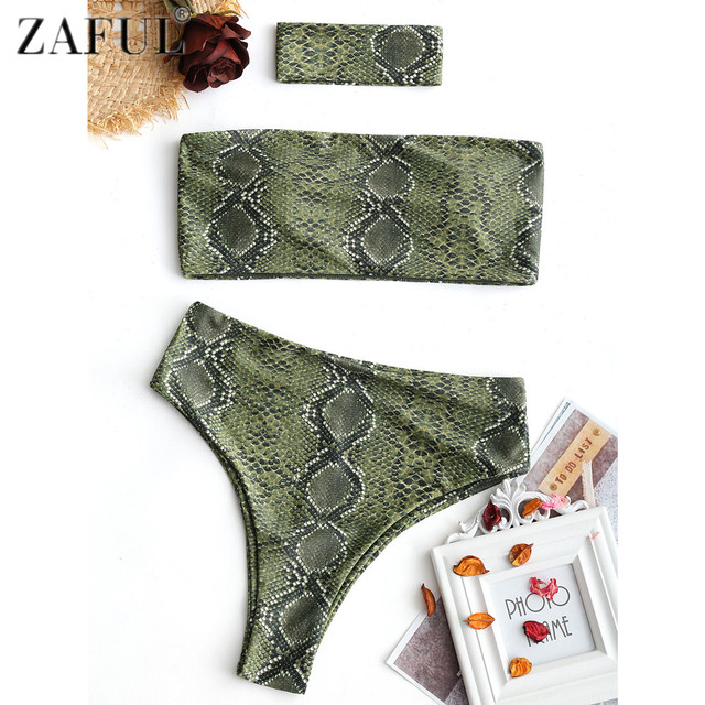 Zaful Women Bikini Set Sexy Snakeskin Print Bandeau Bikini With Choker Female Summer Swimsuit Swimwear Bathing Suit Biquinis by Zaful