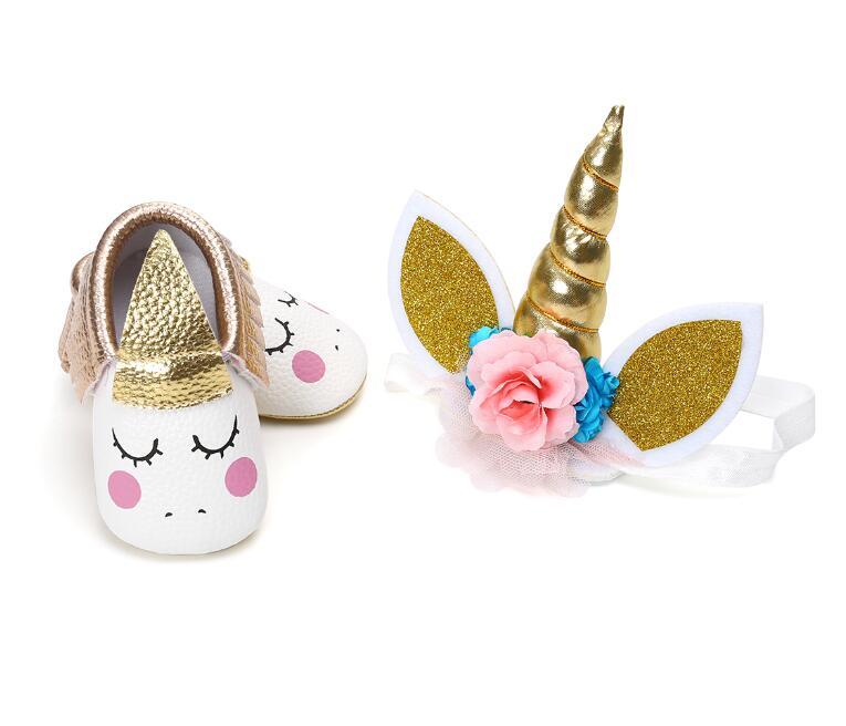 2018 New 2pcs/set Party Unicorn Horns Headband + Newborn Unicorn Baby First Walker Baby Girl Moccasins Tassel Soft Sole Shoes